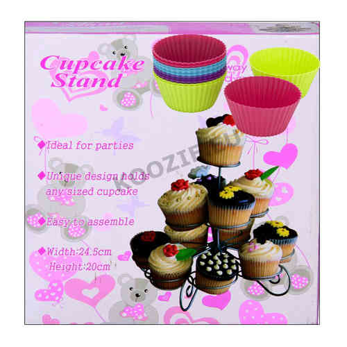 Cupcake stand including 13 silicone cup cakes