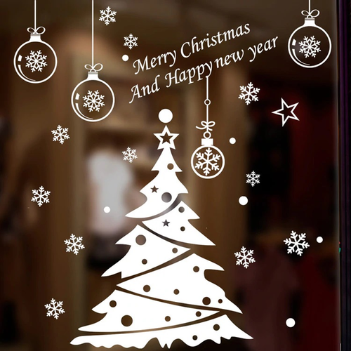 Window sticker Christmas tree - White